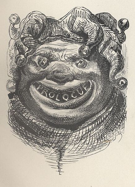 Illustration of the Prologue that appears in book 1 of Gargantua and Pantagruel by François Rabelais published in The Works of Rabelais, translated by Sir Thomas Urquhart of Cromarty and Peter Antony Motteux. Published in 1894.