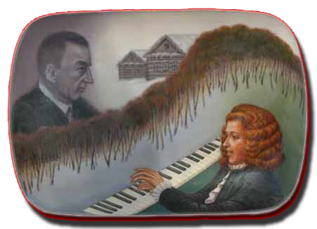 Russian lacquered  box, traditionaly painted by Dimitri Titov, Palek (the legender icon village, 350 kms from Moscow), homage of Monsegur Vaillant, interpreter of Rachmaninov at Ivanoka , to the Dissonance 's composer, Sergei Rachmaninov